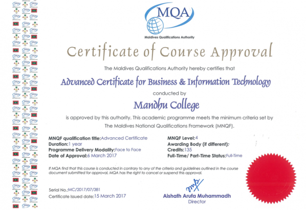 Advanced Certificate For Business & Information Technology - Mandhu ...