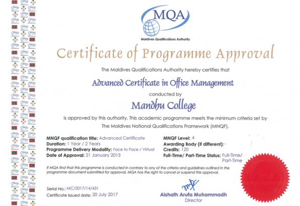Advanced Certificate in Office Management – Mandhu College